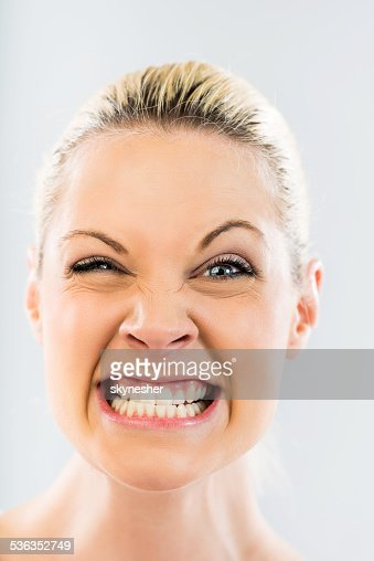 Woman goofing.