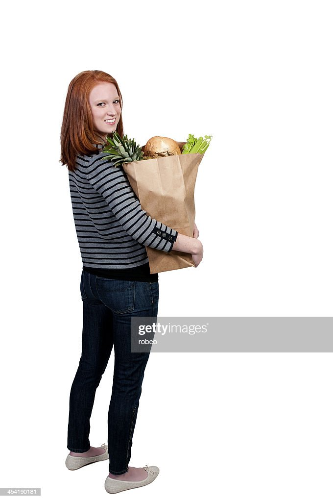 Frau Lebensmittel-Einkaufsservice : Stock-Foto