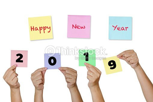 woman hand hold paper notes with label happy new year 2019 new year coming concept