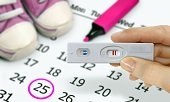 Hand holding test kits with a positive pregnancy test result with baby shoe and calender in background