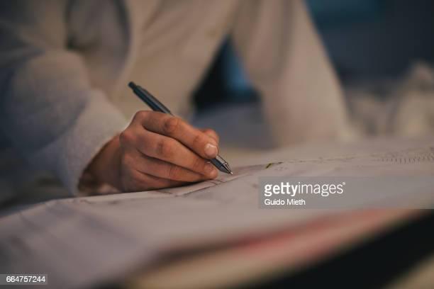 Woman hand, plan and ball pen.