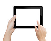 woman hand using mock up digital tablet isolated clipping patch in image data