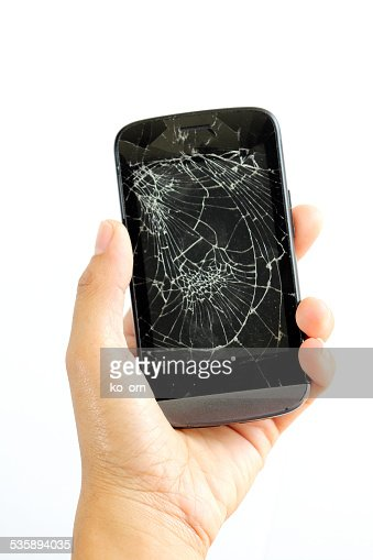 woman hand with broken phone, : Stock Photo