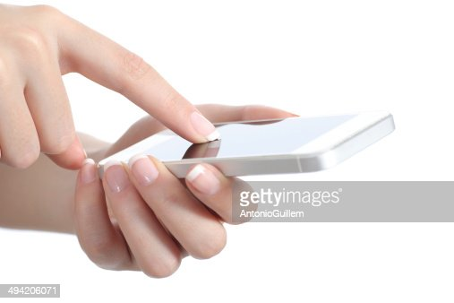 Woman hands holding and touching a smart phone screen : Stock Photo