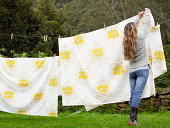 Woman hanging washing on the line
