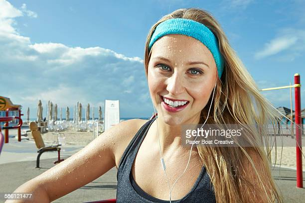 Woman happy right after a hard workout