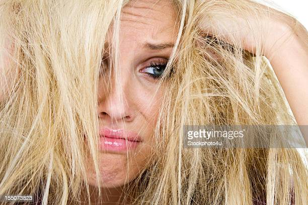 Woman having a bad hair day