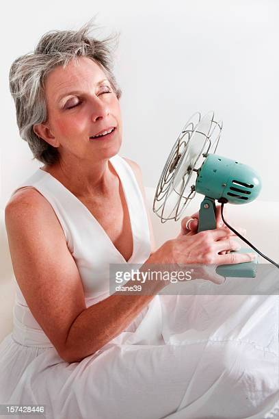 Frau mit einem hot flash