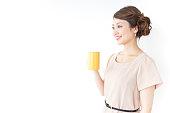 woman having a mug