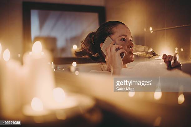 Woman having a relax bath.