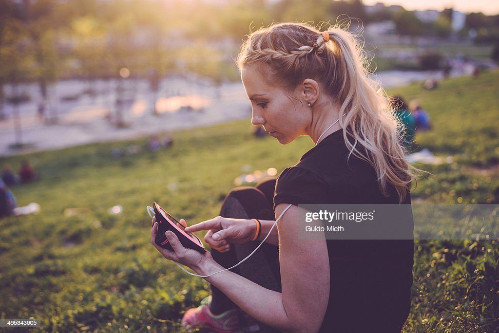 Woman having a rest in park.