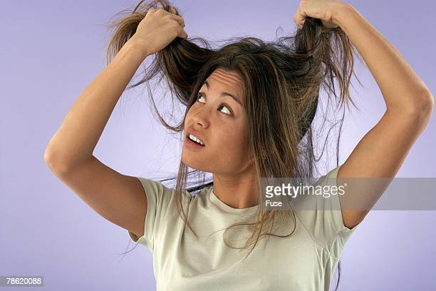 Woman Having Bad Hair Day