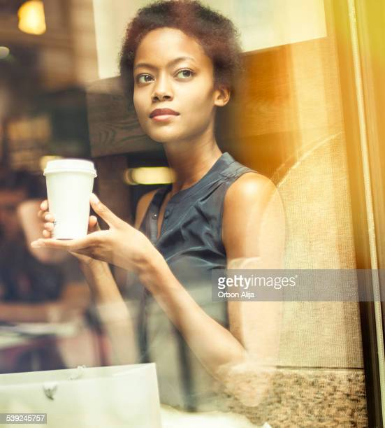 Woman having Coffee in New York City