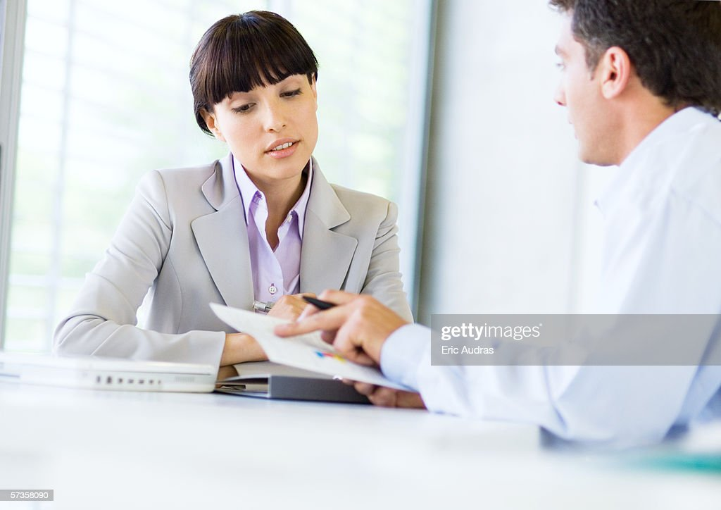 Woman having job interview : Stock Photo