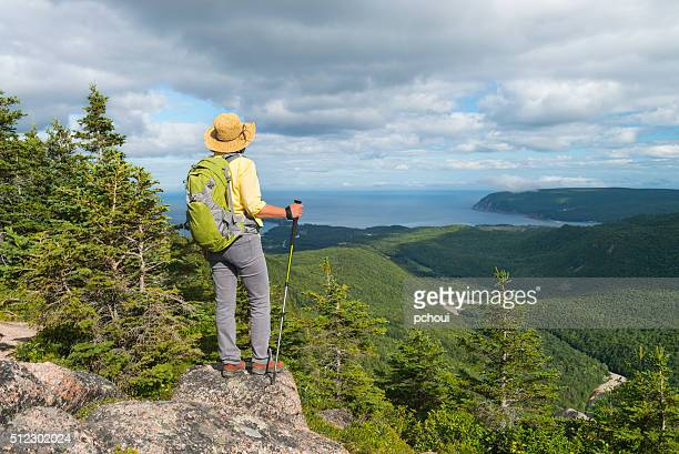 Woman hiking, Cabot trail, Cape Breton, Nova Scotia, Canada, Maritime