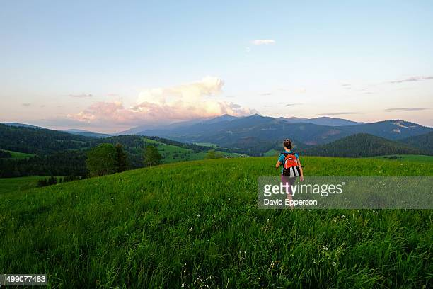 Woman hiking in High Tatras of Slovakia