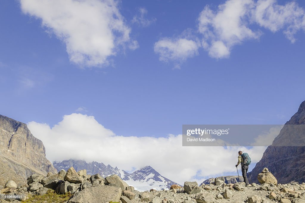 Woman hiking in the Electrico Valley. : Stock Photo