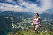 Woman hiking, Königssee, Jenner, Berchtesgaden