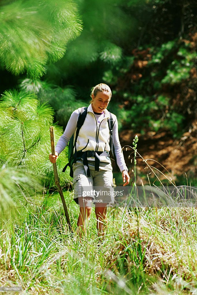 Woman hiking : Stock Photo