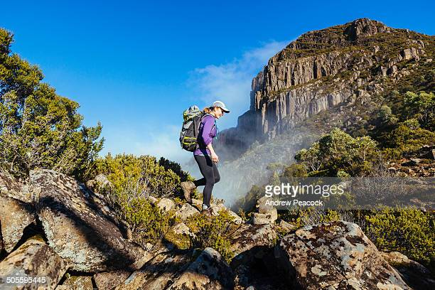 A woman hiking the trail to Mount King William I