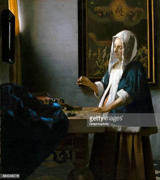 Woman Holding a Balance circa 1664 From the National Portrait Gallery Washington DC Oil on canvas