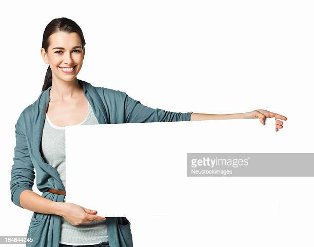 Woman Holding a Blank Sign - Isolated