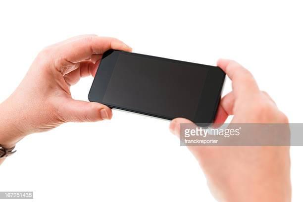 Frau hält eine neue smartphone