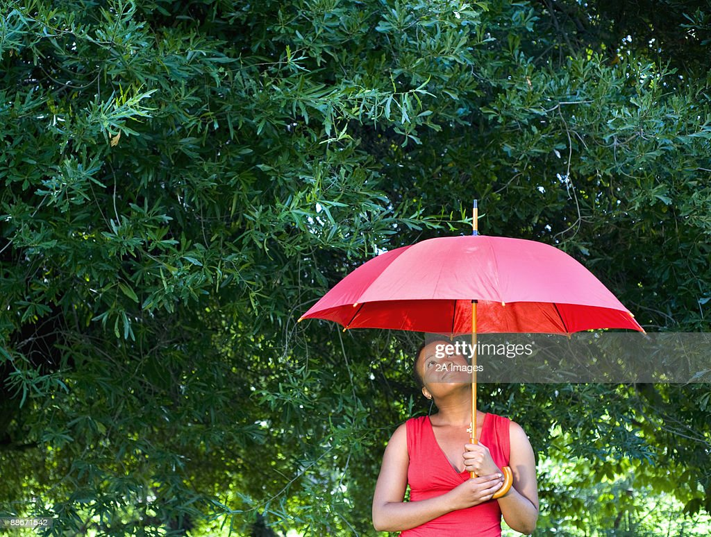 Woman holding an umbrella looking up,  Johannesburg, Gauteng Province, South Africa : Stock Photo