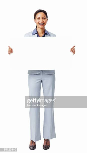 Woman Holding Blank Placard - Isolated