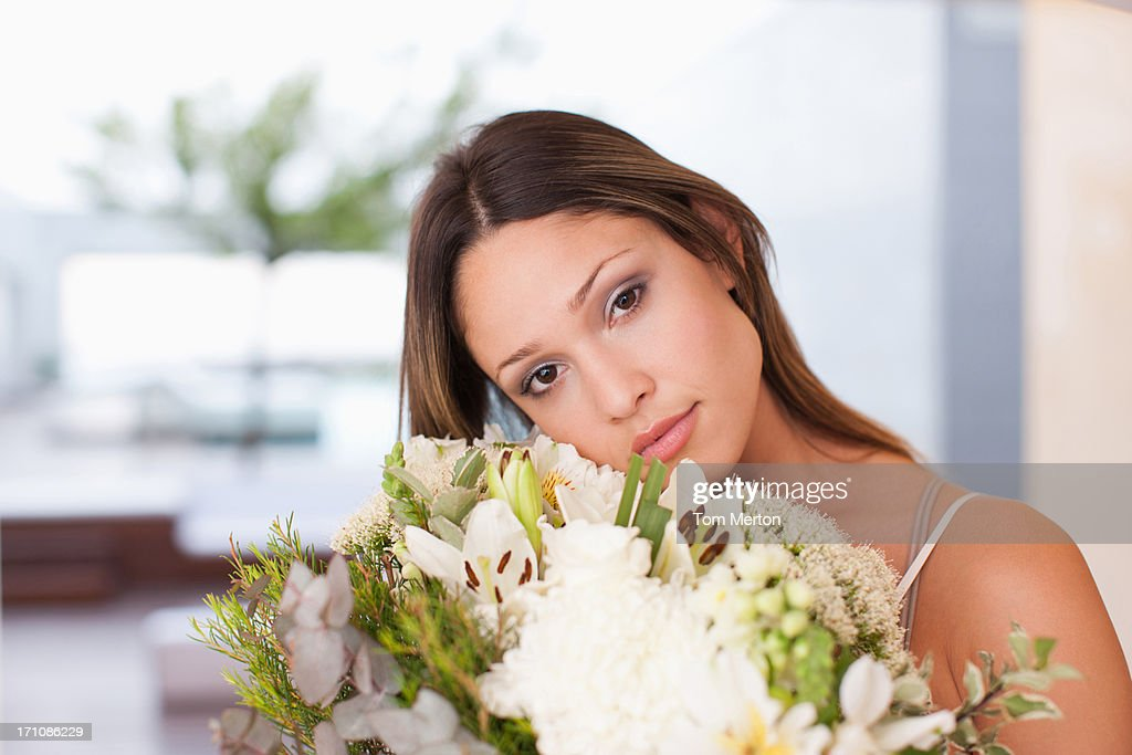 Woman Holding Bouquet Of Flowers Stock Photo | Getty Images