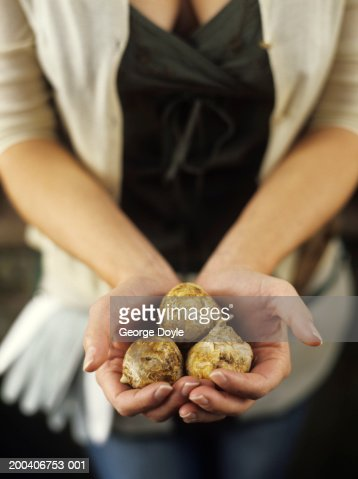 Woman holding bulbs, close up, elevated view