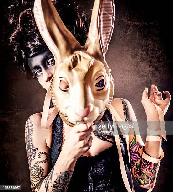 Woman Holding Bunny Mask