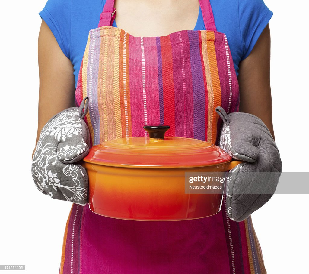 Woman Holding Casserole Dish - Isolated : Stock Photo