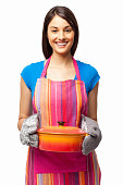 Woman Holding Casserole Dish - Isolated