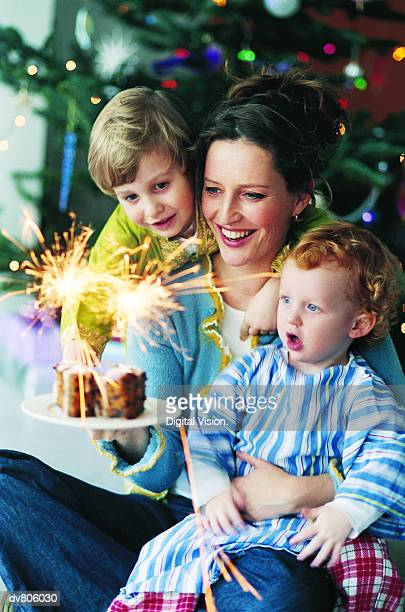 Woman holding Christmas Cake with Two Sons Looking at it