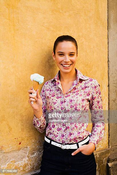 Woman holding cone of gelato