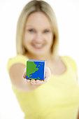 Woman Holding Cube Shaped Globe