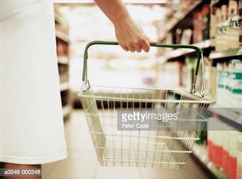 Woman Holding Empty  Basket : Stock Photo
