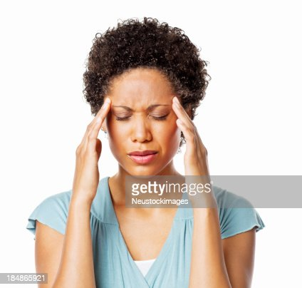 Woman Holding Her head in Pain - Isolated