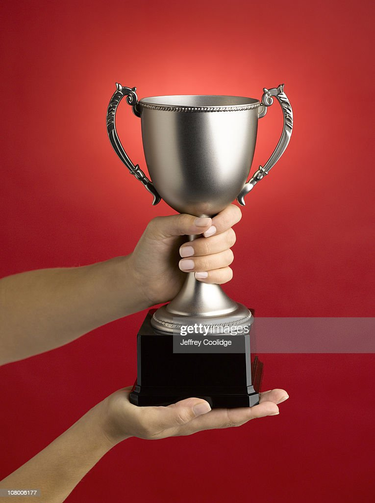 Woman Holding Loving Cup Trophy : Stock Photo