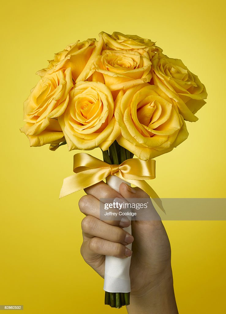 woman holding rose bouquet : Stock Photo