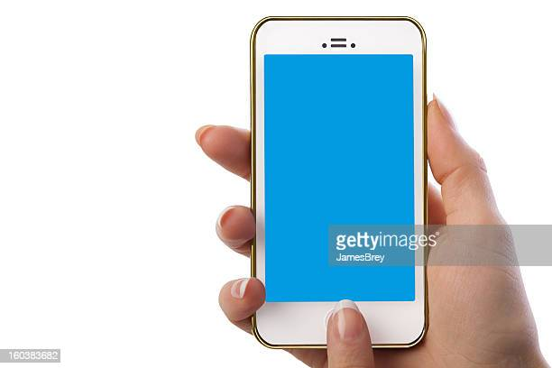 Woman Holding Smart Phone With Blank Blue Screen