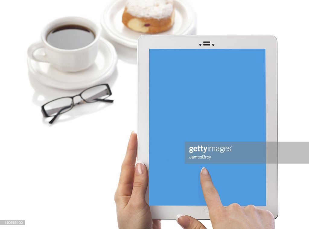 Woman Holding Tablet Computer Blank Blue Screen : Stock Photo
