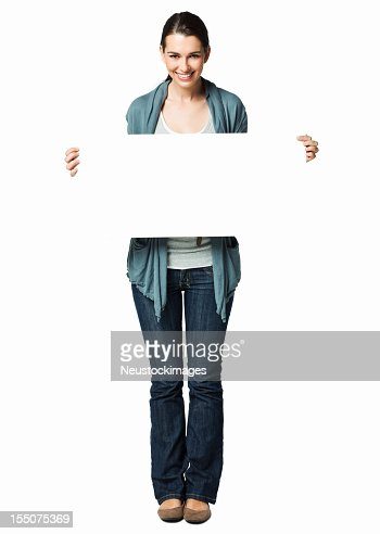 Woman Holding Up a Blank Sign - Isolated