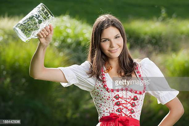 Woman holding up a Mug, More Beer Please, Oktoberfest (XXXL)