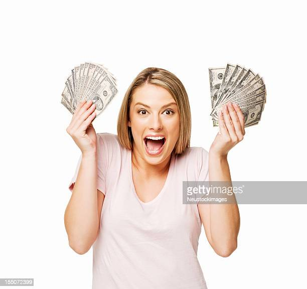 Woman Holding Up Lots of Money - Isolated