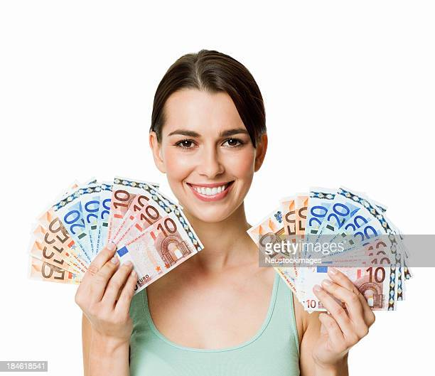 Woman Holding Up Stack of Money - Isolated