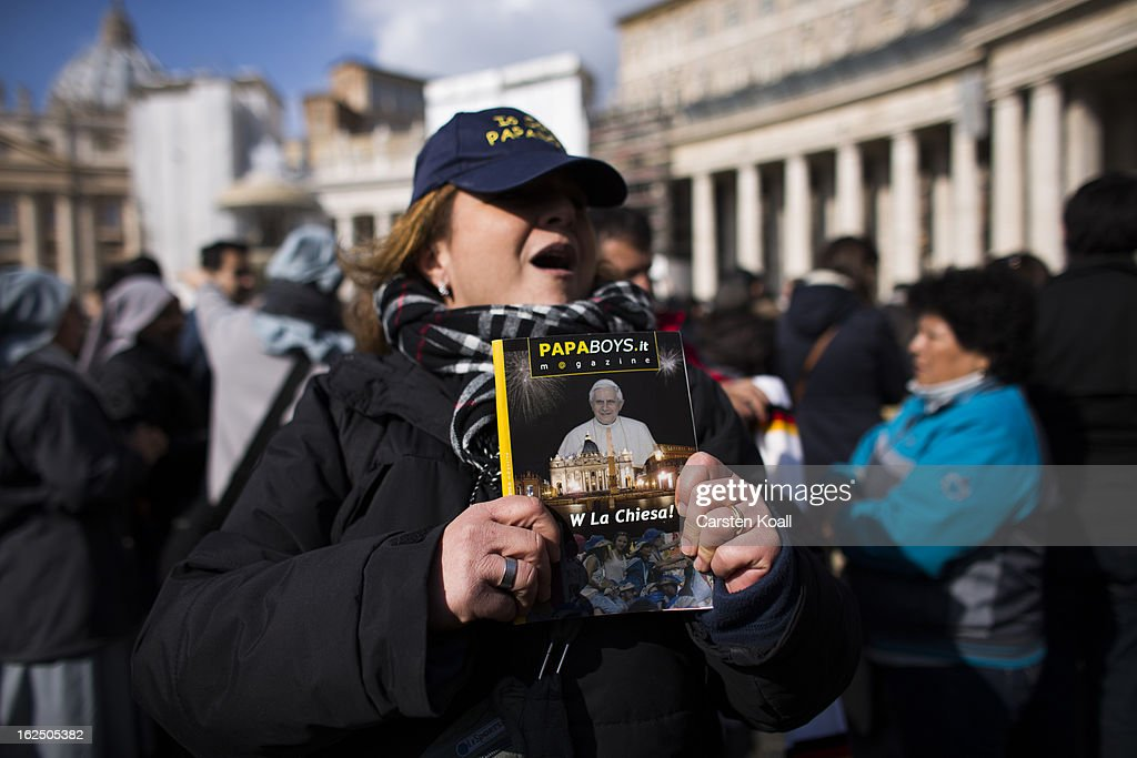 A woman holds a book covered with a photograph of Pope Benedict XVI on February 24, 2013 in Vatican City, Vatican. Pope Benedict XVI delivers his last Angelus Blessing from the window of his private apartment to thousands of pilgrims gathered in Saint Peter's Square on February 24, 2013 in Vatican City, Vatican. The Pontiff will hold his last weekly public audience on February 27, 2013 before he retires the following day. Pope Benedict XVI has been the leader of the Catholic Church for eight years and is the first Pope to retire since 1415. He cites ailing health as his reason for retirement and will spend the rest of his life in solitude away from public engagements.
