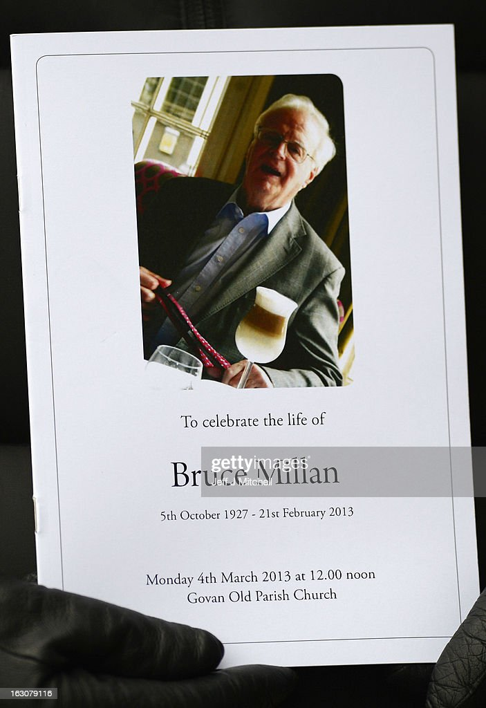 A woman holds a order of service at the memorial service of former Scottish Secretary and European Commissioner Bruce Millan at Govan Parish Church on March 4, 2013 in Glasgow, Scotland. Bruce Millan died last Thursday aged 85 he had recently been diagnosed with cancer.