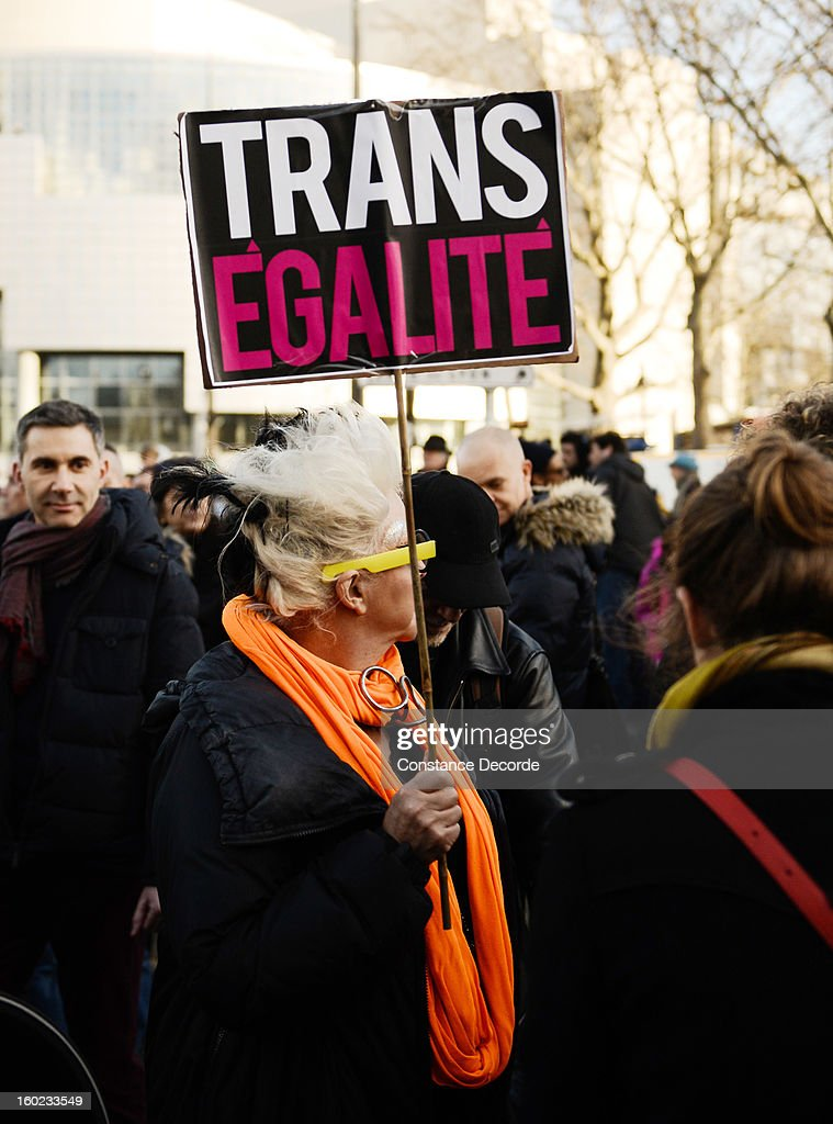 A woman holds a sign reading in favor of equality during a marriage for all demonstration on January 28, 2013 in Paris, France. The marriage equality bill, which will be debated at the French National Parliament, would not only legalize same-sex marriage and also allow gay couples to adopt, a controversial issue in the bill. French President Francois Hollande supports the legislation but faces criticism from anti-gay and religious groups, while gay rights groups have concerns of inadequacies within the bill.